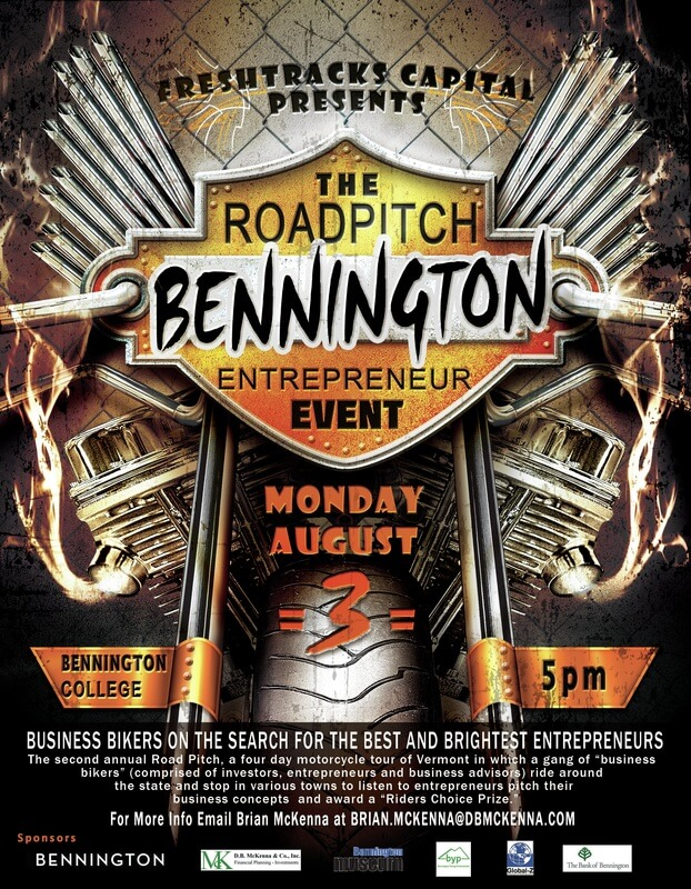 Promotional poster for Road Pitch, Bennington Vermont