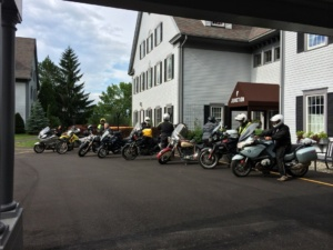Motorcyclists parked outside the Inn at Essex