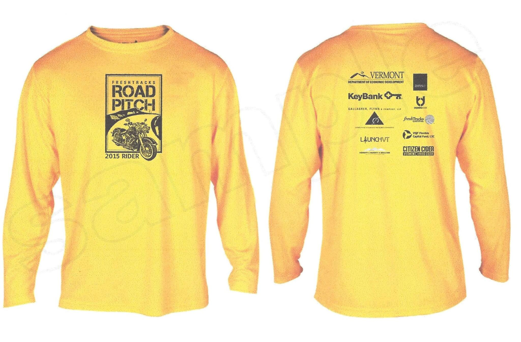 Road Pitch branded yellow long-sleeve T-shirts