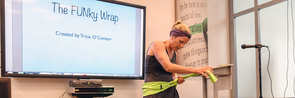 Tricia O'Connor gives a presentation on The Funky Wrap