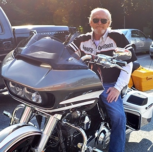 Peter Pollak on his Harley Davidson